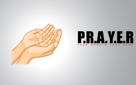 praise: illustration of praying hand on abstract background Illustration
