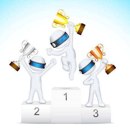 3d ilustraci�n del hombre en el trofeo de explotaci�n totalmente escalable en el podio de la victoria