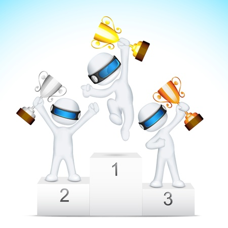 illustration of 3d man in fully scalable holding trophy on victory podium Vector