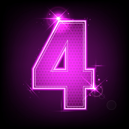 numeric character: illustration of glowing number four on abstract background