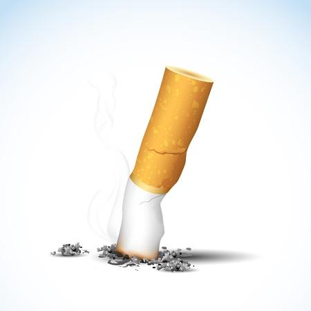harmful: illustration of end of burning cigarette on white background