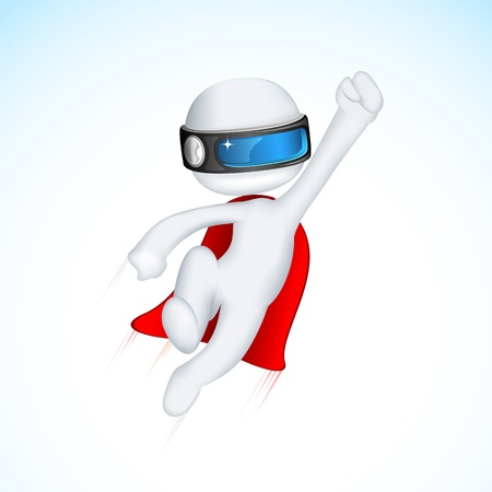 flying man: illustration of 3d superhero