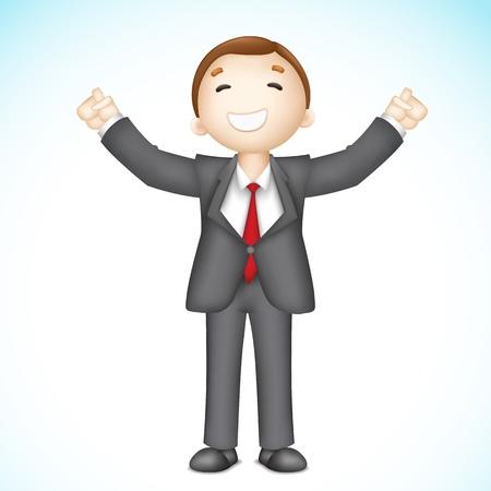 SATISFIED: illustration of 3d business man