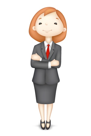 hand stand: illustration of 3d business women