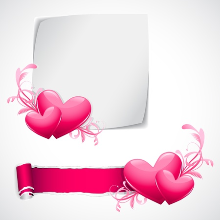 illustration of glossy heart on love template Vector