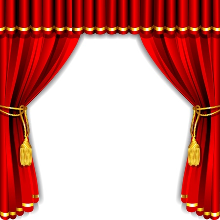 red curtain: illustration of silk stage curtain with white backdrop