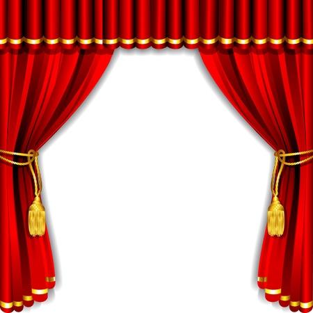 curtain design: illustrazione di sipario di seta con sfondo bianco Vettoriali