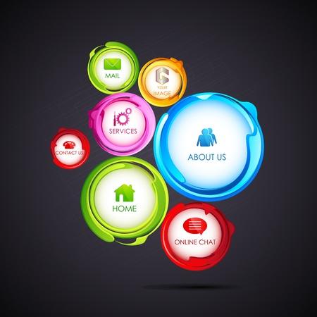 illustration of colorful web design bubble template Vector