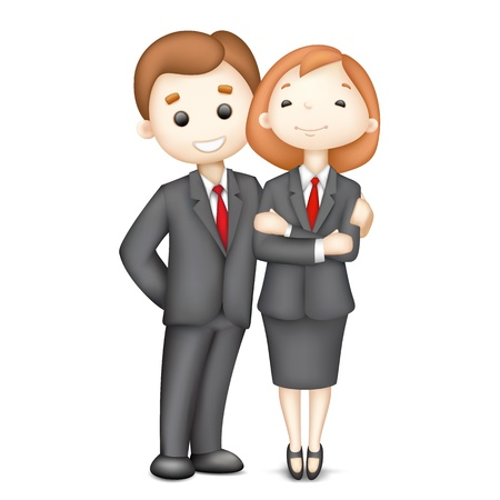 skirt suit: illustration of 3d business man and woman