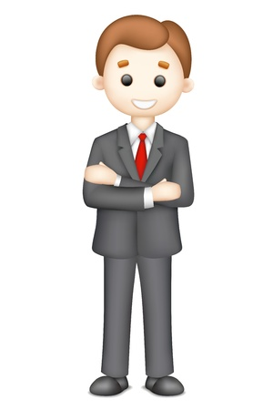 business confidence: illustration of confident 3d business man Illustration