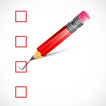 multiple choice: illustration of pencil making tick in check box
