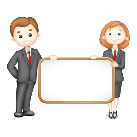 young executives: illustration of 3d business man and woman