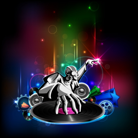 disc jockey: illustration of disco jockey playing music on abstract background