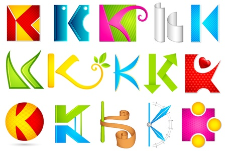 letter k: illustration of set of different colorful icon for alphabet K Illustration