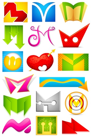 m: illustration of set of different colorful icon for alphabet M Illustration