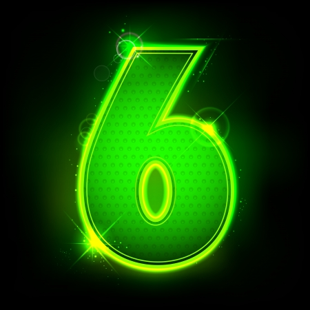 numerical value: illustration of glowing number six on abstract background