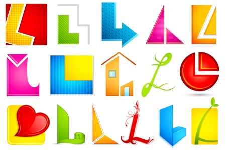letter l: illustration of set of different colorful icon for alphabet L