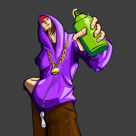 spray paint: illustration of cool guy showing bottle of spray paint Illustration