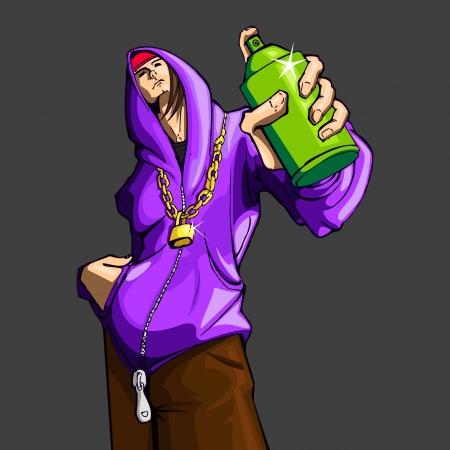 hip hop dance pose: ilustraci�n de chico cool que muestra una botella de pintura en aerosol