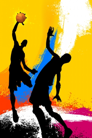grungy background: illustration of basketball player playing on abstract grungy background