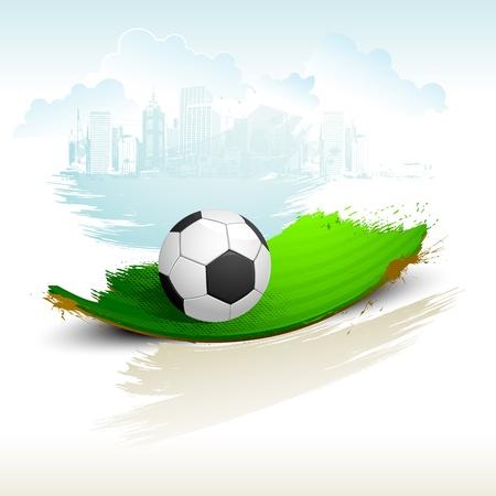 cancha de futbol: ilustración de balón de fútbol en cancha abstracta con el grunge