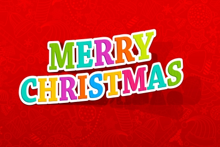 illustration of colorful merry christmas text on backdrop with seamless pattern Vector