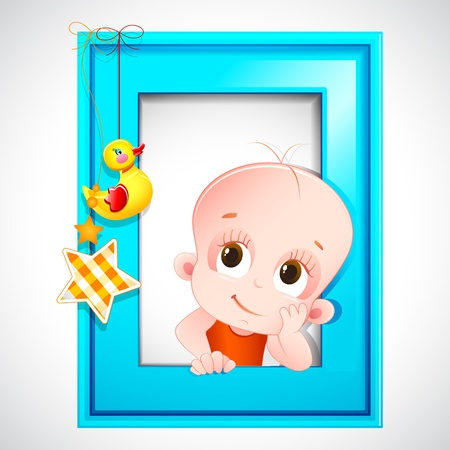 illustration of dreaming baby photo frame for baby announcement background Stock Vector - 13777076