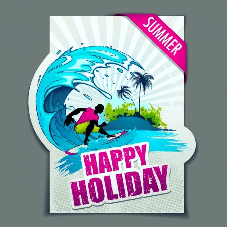 illustration of surfer in wave on happy holiday poster Vector