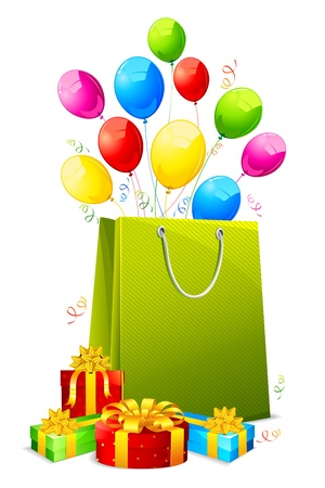 hamper: illustration of colorful ballon and confetti coming out from shopping bag with gift box