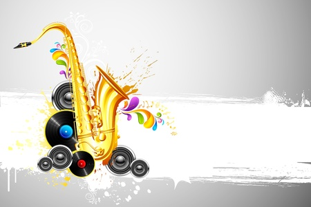 illustration of saxophone and speaker on abstract background Vector
