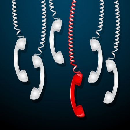uniqueness: illustration of hanging red telephone receiver among white receivers