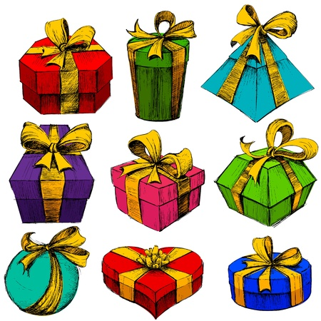 illustration of set of sketch for hand drawn gift box Vector