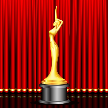 award trophy: illustration of lady statue trophy on stage curtain backdrop