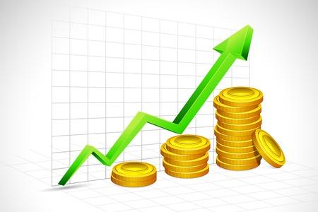 rosnąco: ilustracja zÅ'ota moneta z paska wykresu i strzaÅ'y na tle