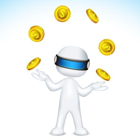 3d ilustración del hombre totalmente escalable malabares con monedas de oro Ilustración de vector