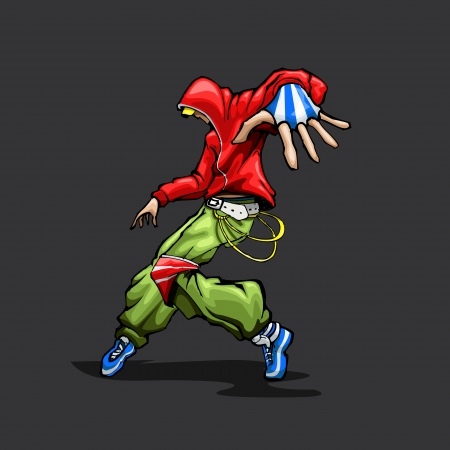 boy jumping: ejemplo de hombre de moda en el baile plantean Vectores