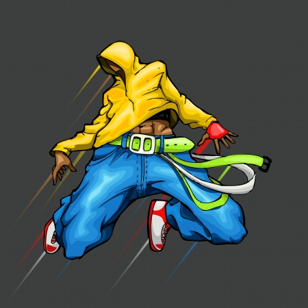 illustration of cool guy in dancing pose Vector
