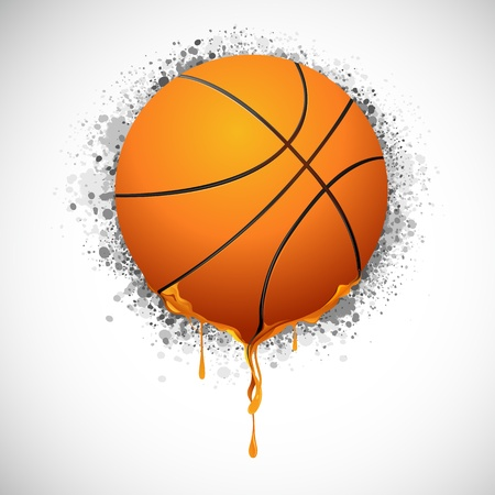 illustration of melting basket ball on grungy background