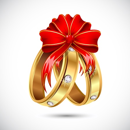 illustration of pair of engagement ring wrapped in ribbon Stock Vector - 13821146