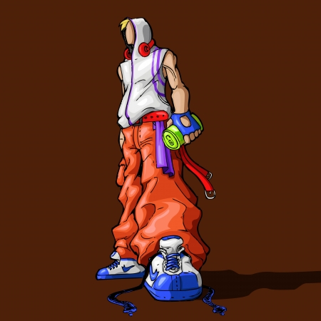 hip hop dancer: illustration of standing cool guy holding cold drink can