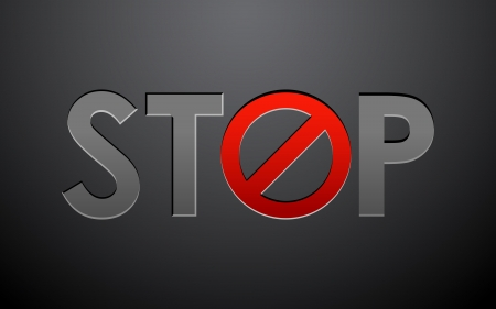 traffic rules: illustration of stop written with forbidden sign on abstract background