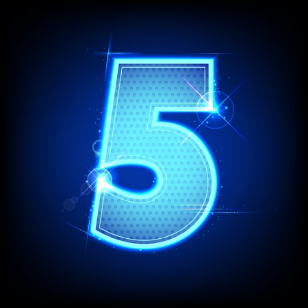 five objects: illustration of glowing number five on abstract background