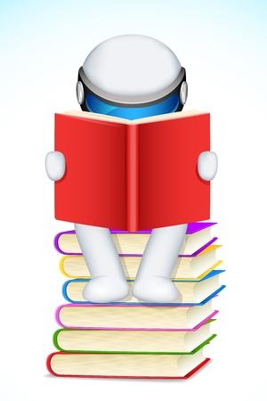illustration of 3d man  reading book Stock Vector - 13821158