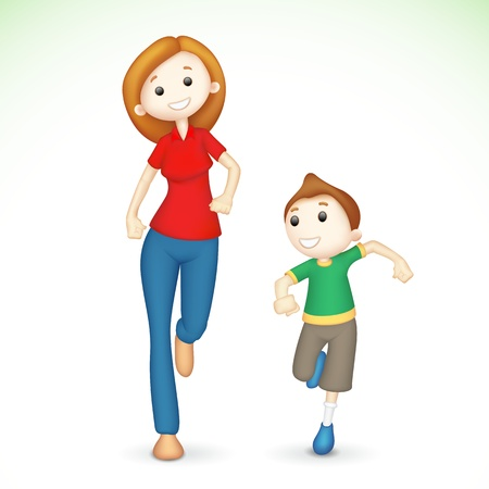 mom and son: illustration of 3d mother and son running  Illustration