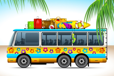 coach bus: illustration of trip on bus with travel object on roof
