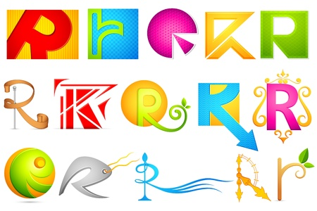 r: illustration of set of different colorful icon for alphabet R Illustration