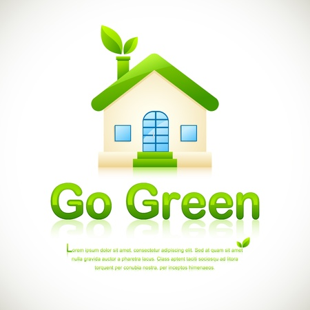 urban environment: illustration of green home with leaf coming out of chimney