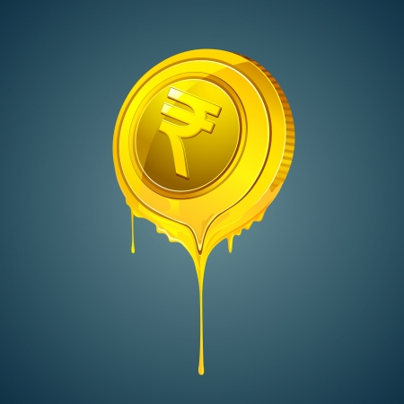 liquid metal: illustration of melting rupee coin on abstract background