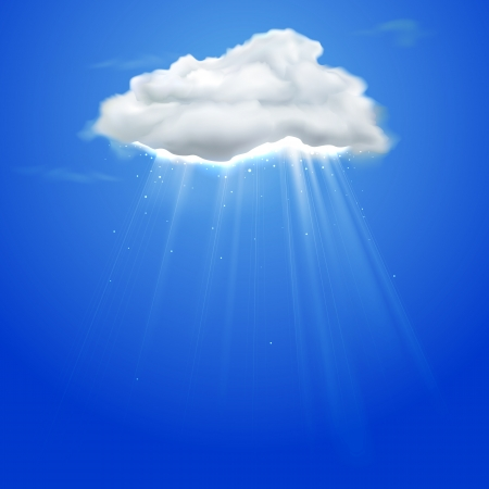 precipitation: illustration of rays coming out of cloud