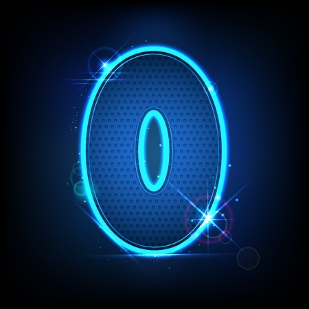 null: illustration of glowing number zero on abstract background